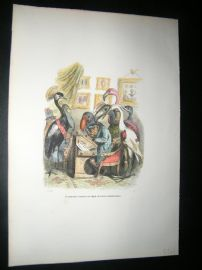 Grandville des Animaux 1842 Hand Col Print. Monkey Drawing Portrait Of Crane Bird